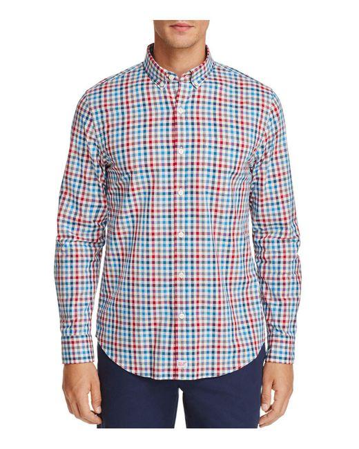 Lyst vineyard vines higgins beach gingham slim fit for Blue gingham button down shirt