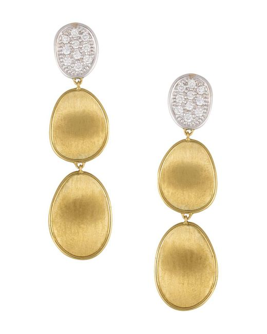 Marco Bicego - Multicolor Diamond Lunaria Three Drop Small Earrings In 18k Gold - Lyst