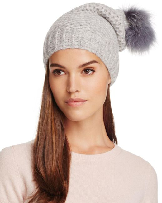 Inverni - Gray Fur Pom-pom Slouchy Beanie - Lyst