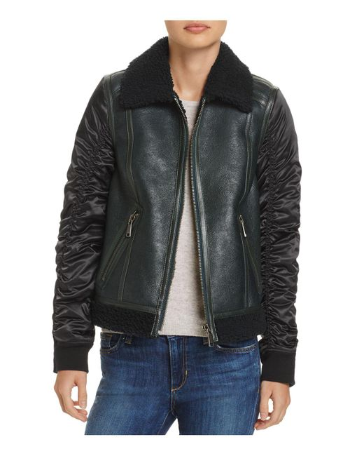 Andrew Marc - Green Tally Shearling Trim Mixed Media Jacket - Lyst