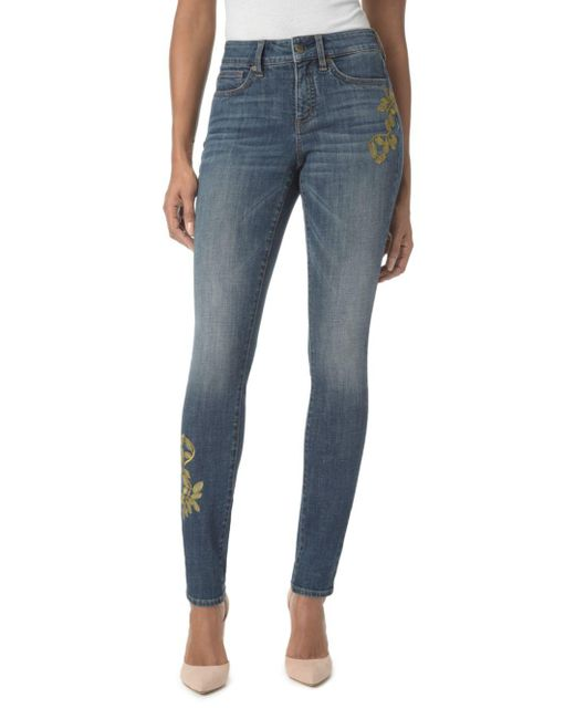 NYDJ - Blue Alina Embroidered Legging Jeans In Desert Gold - Lyst