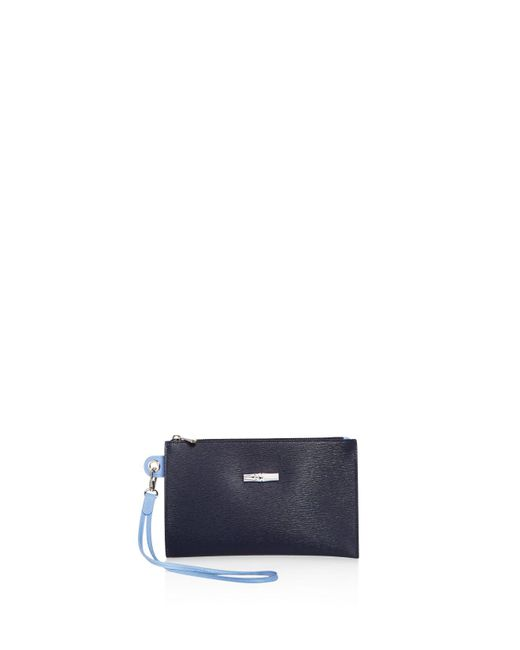 Longchamp | Blue Roseau Flat Leather Cosmetic Case | Lyst