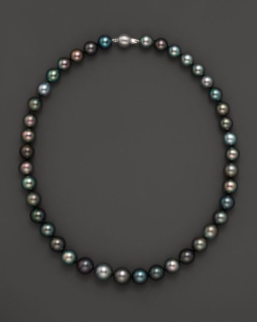 """Bloomingdale's - Metallic Natural Color Tahitian Pearl And 14k White Gold Strand Necklace, 18"""" - Lyst"""