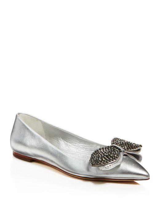 Tory Burch - Women's Rosalind Embellished Metallic Leather Flats - Lyst