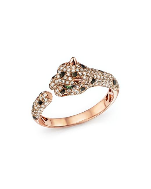 Bloomingdale's - Metallic Diamond And Tsavorite Panther Ring In 14k Rose Gold - Lyst
