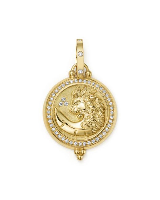 Temple St. Clair - Metallic 18k Yellow Gold Diamond Lion Coin Pendant - Lyst