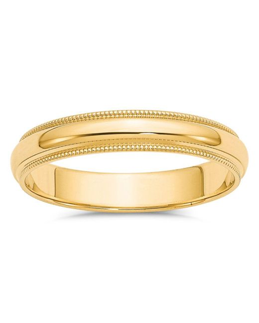 Bloomingdale's - Metallic Men's 4mm Milgrain Half Round Wedding Band 14k Yellow Gold for Men - Lyst