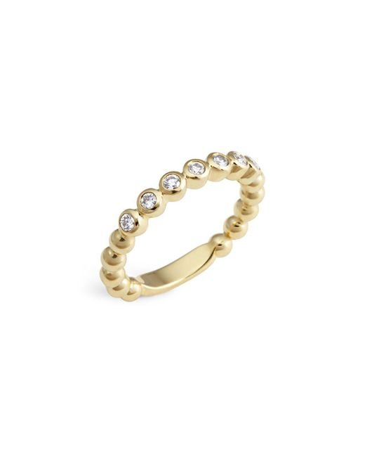 Lagos | Metallic 18k Gold Beaded And Diamond Ring | Lyst
