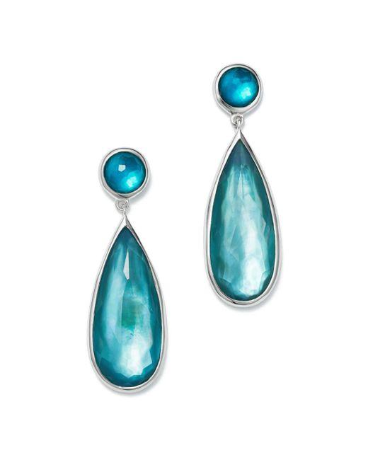 Ippolita - Blue Sterling Silver Wonderland Mother-of-pearl & Clear Quartz Doublet Snowman Earrings In Bermuda - Lyst