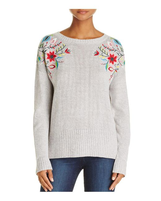Aqua | Gray Embroidered High/low Sweater | Lyst