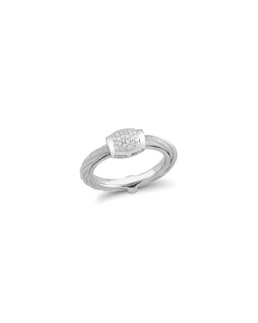 Alor   Metallic Diamond Grey Cable Ring   Lyst