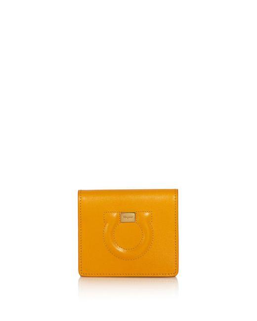 Ferragamo - Yellow Gancini Leather Wallet - Lyst