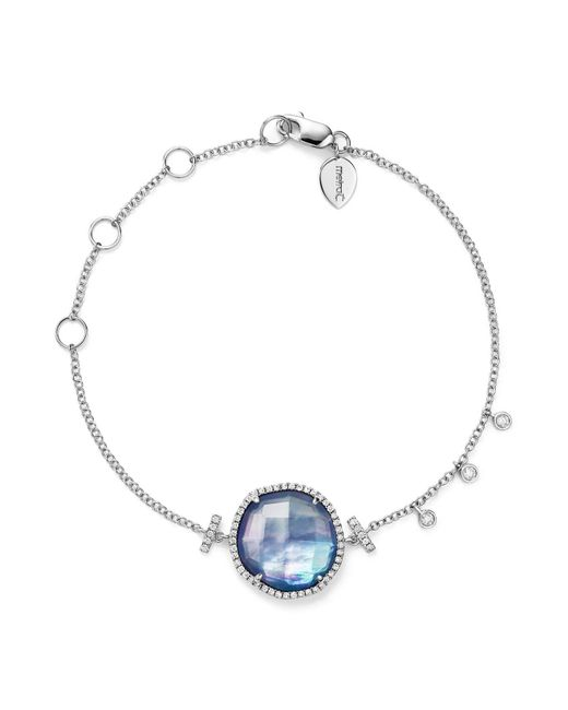 Meira T | 14k White Gold Blue Sapphire And Moonstone Doublet Bracelet With Diamonds | Lyst