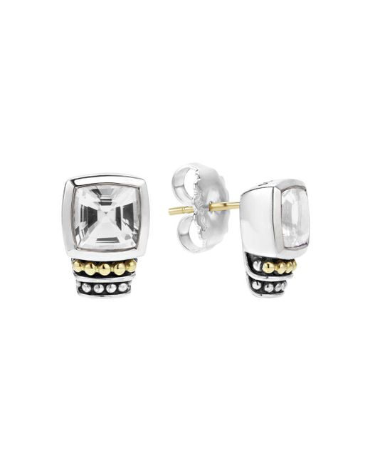 Lagos - 18k Gold And Sterling Silver Caviar Color Stud Earrings With White Topaz - Lyst