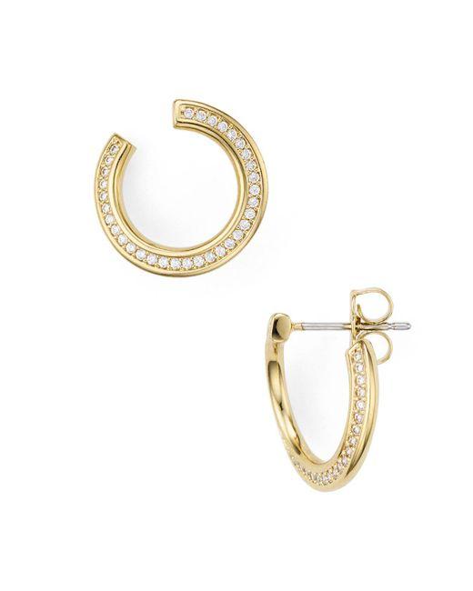 Nadri - Metallic Railed Front Back Hoop Earrings - Lyst