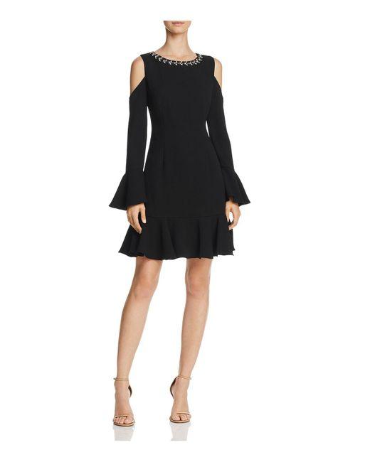 Eliza J | Black Cold-shoulder Flounce-hem Dress | Lyst
