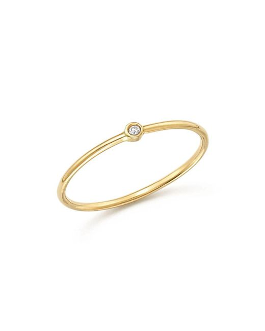Zoe Chicco - Metallic 14k Yellow Gold Thin Ring With Diamond - Lyst