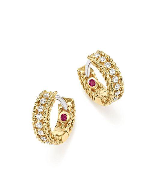 Roberto Coin - Metallic 18k White And Yellow Gold Symphony Princess Diamond Hoop Earrings - Lyst