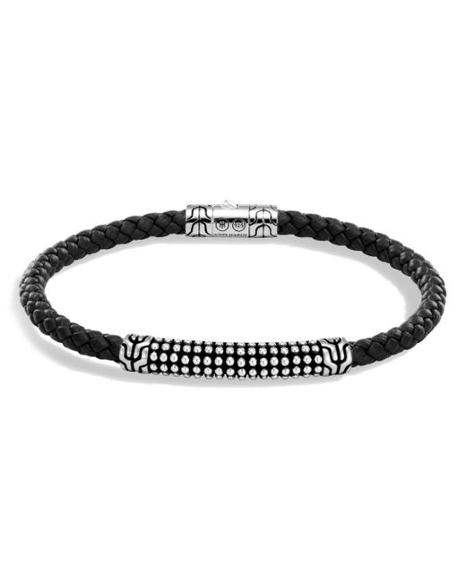 John Hardy - Metallic Men's Sterling Silver Classic Chain Jawan Bracelet With Black Woven Leather for Men - Lyst