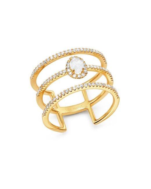 Meira T - Metallic 14k Yellow Gold Milky Aquamarine & Diamond Triple Band Ring - Lyst