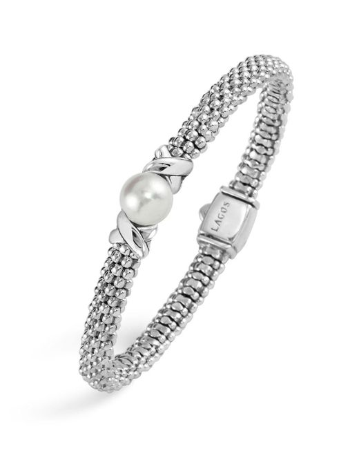 Lagos - Metallic Luna Sterling Silver Caviar Bracelet With Pearl - Lyst