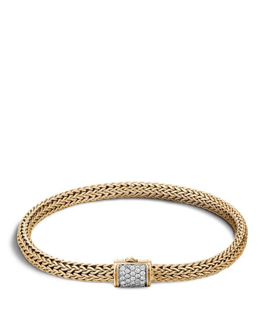John Hardy - Metallic Classic Chain 18k Gold Extra Small Bracelet With Diamond Pavé - Lyst