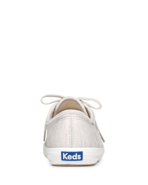 aace0a3d82985 ... Lyst Keds - Gray Women s Champion Jersey Lace Up Sneakers ...