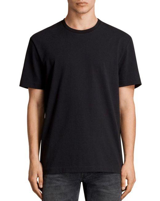AllSaints - Black Monta Short Sleeve Solid Tee for Men - Lyst