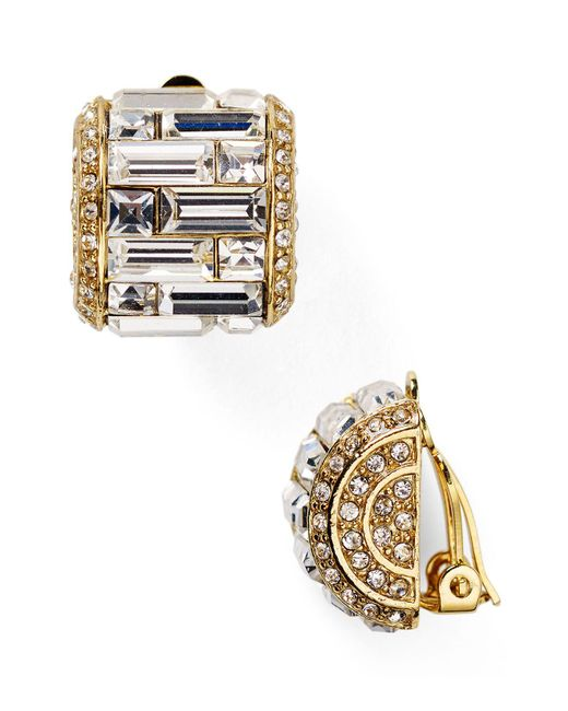 Carolee - Metallic Crystal Baguette Huggie Clip On Earrings - Lyst