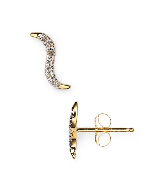 Adina Reyter | Metallic Pavé Wave Stud Earrings | Lyst