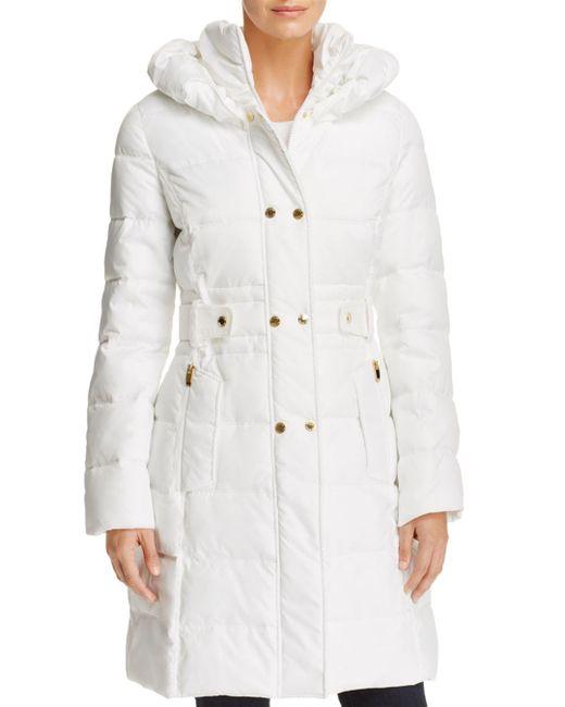 Via Spiga - White Contrast Placket Puffer Coat - Lyst