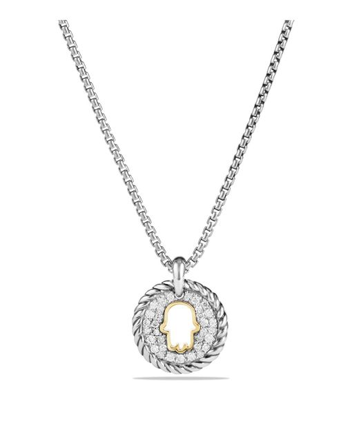 David Yurman - Metallic Cable Collectibles Hamsa Charm Necklace With Diamonds With 18k Gold - Lyst