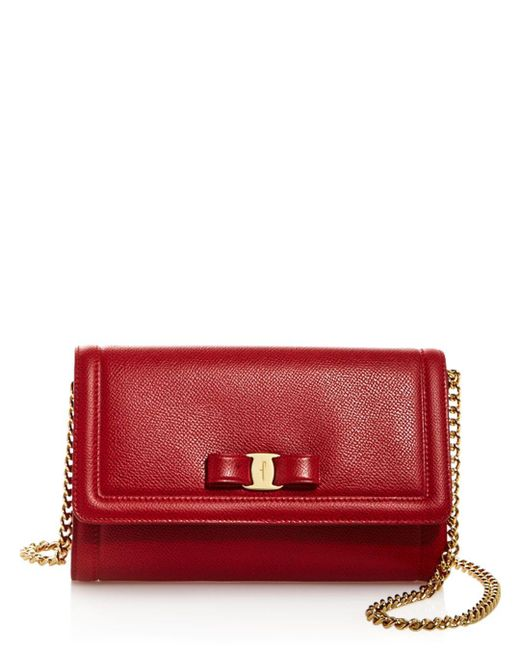 Ferragamo - Red Miss Vara Score Leather Mini Bag - Lyst