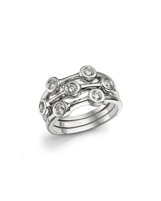 Roberto Coin | Metallic 18k White Gold Diamond Bezel Ring | Lyst