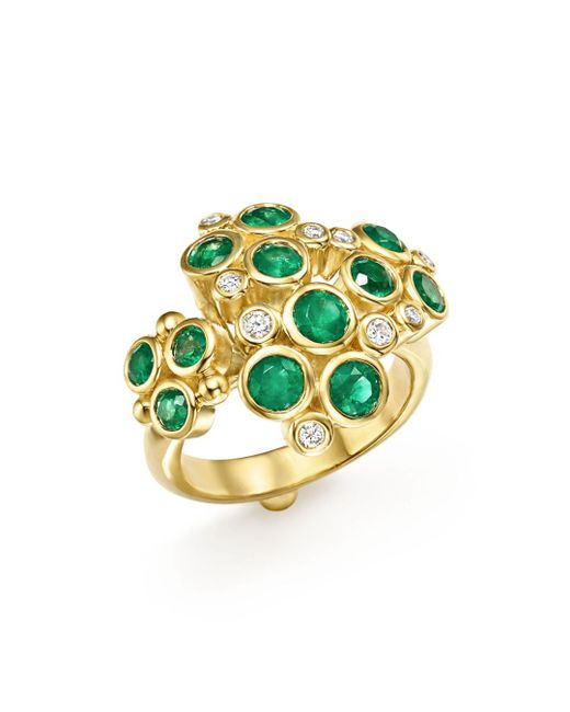 Temple St. Clair - Metallic 18k Yellow Gold Emerald And Diamond Cluster Trio Ring - Lyst