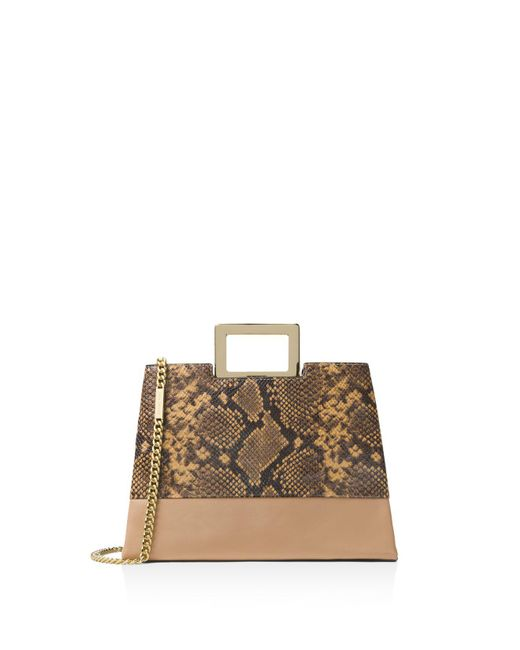 MICHAEL Michael Kors | Brown Kristen Top Handle Large Embossed Leather Satchel | Lyst