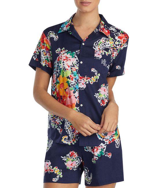 Ralph Lauren - Blue Lauren Seaside Classic Short Pajama Set - Lyst