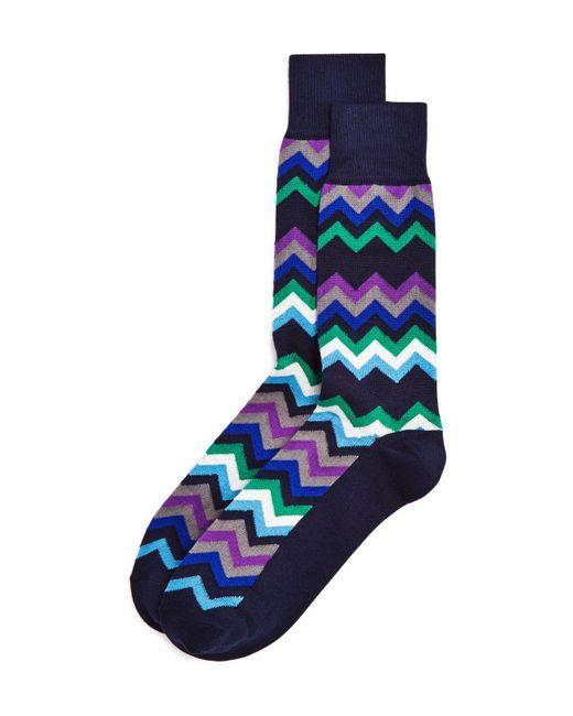 Paul Smith   Blue Fleet Chevron Socks for Men   Lyst
