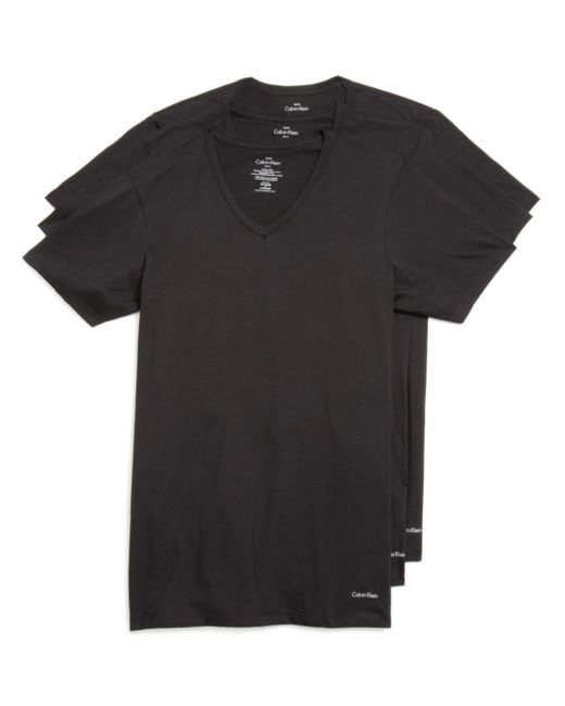 Calvin Klein - Black Men's Classic V-neck T-shirt 3-pack for Men - Lyst
