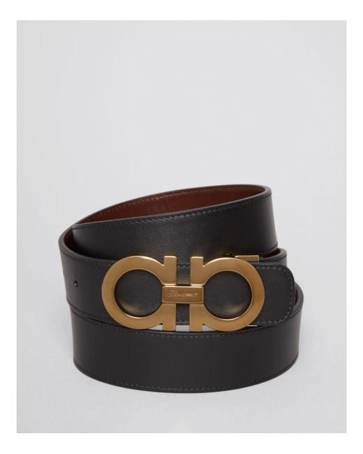 Ferragamo - Black Smooth Reversible Belt With Shiny Goldtone Double Gancini Buckle for Men - Lyst