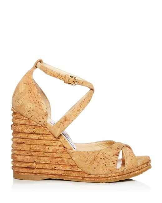 00dcad9d92 ... Jimmy Choo - Natural Women's Alanah 105 Cork Platform Wedge Sandals ...