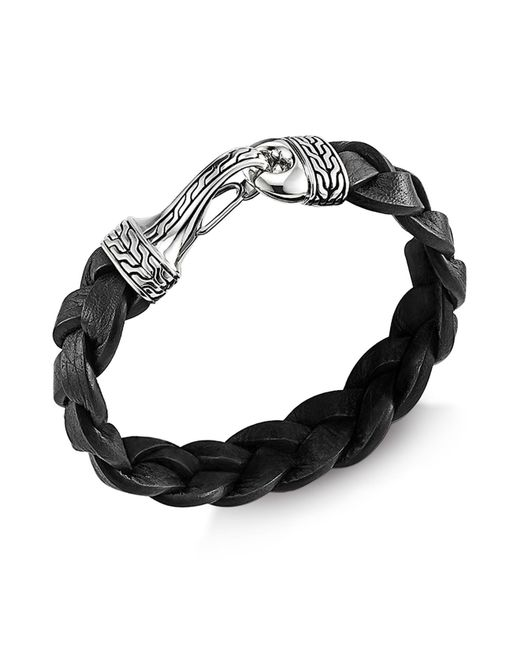 John Hardy | Men's Classic Chain Silver Hook Bracelet On Black Braided Leather Cord for Men | Lyst