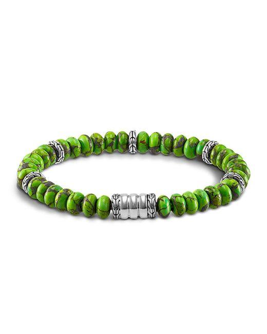 John Hardy   Men's Sterling Silver Bedeg Beaded Bracelet With Mohave Green Turquoise for Men   Lyst