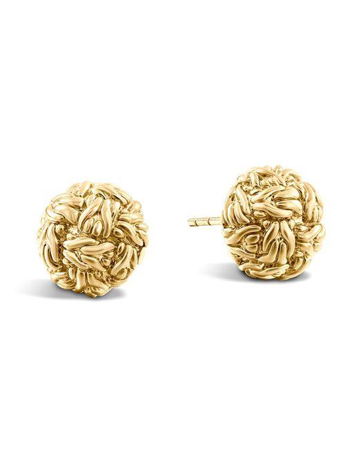 John Hardy   Metallic Classic Chain 18k Yellow Gold Stud Earrings   Lyst