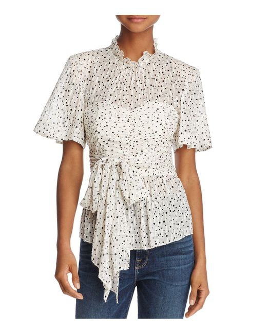 Rebecca Taylor - White Star Print Tied Top - Lyst