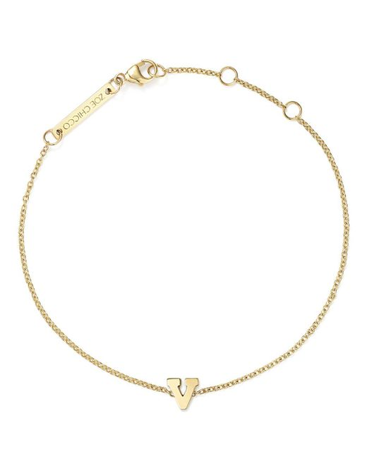 Zoe Chicco | Metallic 14k Yellow Gold Initial Bracelet | Lyst