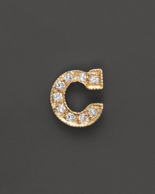 Zoe Chicco | 14k Yellow Gold Pave Single Initial Stud Earring, .04-.06 Ct. T.w. | Lyst