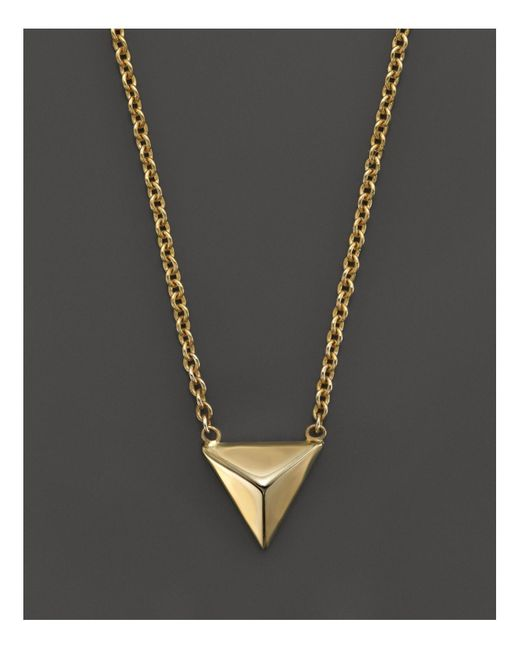 Zoe Chicco | 14k Yellow Gold Triangle Pyramid Necklace, 16"