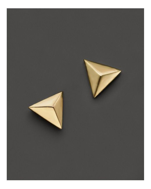 Zoe Chicco | 14k Yellow Gold Triangle Pyramid Stud Earrings | Lyst