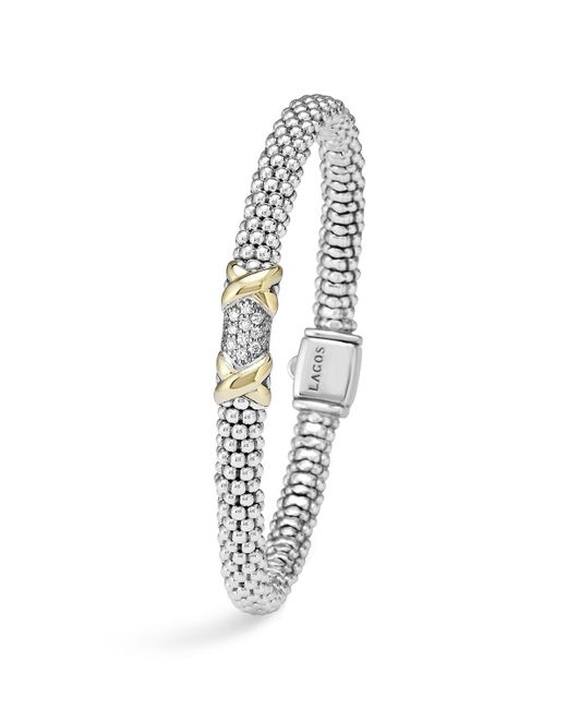 Lagos | Metallic Diamond Lux 18k Gold And Sterling Silver Bracelet With Pave Diamonds | Lyst